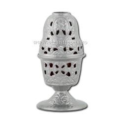 Candela antimoniu pahar sticla 17,5cm - argintiu