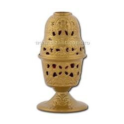 Candela antimoniu pahar sticla 17,5cm - auriu