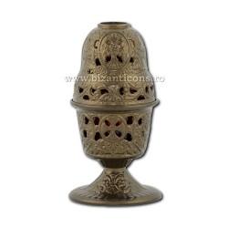 Candela antimoniu pahar sticla 17,5cm - culoare bronz