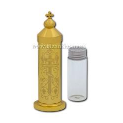 VAS pt Santul si MARELE MIR cilindru metal + sticla - aurit D 100-214Au 5/set
