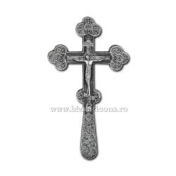 CRUCE Bin. 21cm - argintie cu patina - relief floral D101-6AgP
