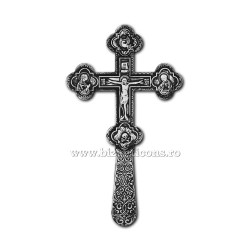 CRUCE Bin. 21,5cm - argintie + patina - medalioane icoana D101-8AgP