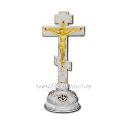 Cruce ruseasca argintie si aurie 31cm + baza fixa D 101-11SG