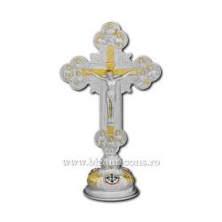 Cruce argintie si aurie med sfinti 36cm + baza fixa D 101-12SG