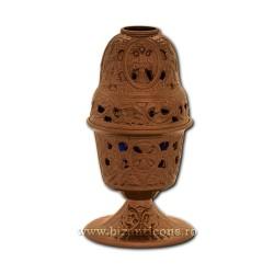 Candela antimoniu pahar sticla 17,5cm - culoare cupru