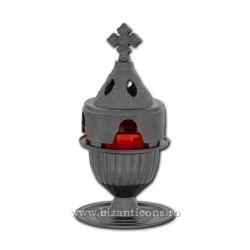 Candela antimoniu pahar metal 18cm - argintiu