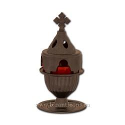 Candela antimoniu pahar metal 18cm - negru
