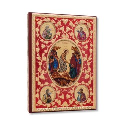 Evanghelie aurita - pietre albe - fond rosu - icoane AS102-168