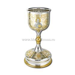 Potir aurit si arginatat - cupa argint 925 - gravat AT 103-85