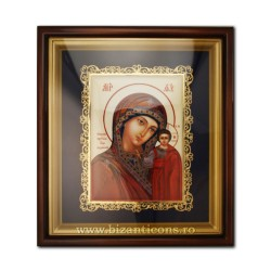 The icon in the frame is enamel painted - filigree-gold plated - MD-Kazan AT 160-5