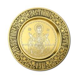 Plate-gilt - carved - Mother of God 4 AT 248-17