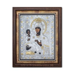The icon with silvered our lady of 3 Hand - Trihirussa 36x44cm K700-029