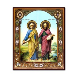 1861-723 the Icon of the Russian fiberboard 20x24 St. Peter and Paul