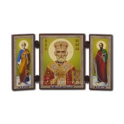 181-009 Triptic lemn 13x7,3 Sf Nicolae 11buc/cutie
