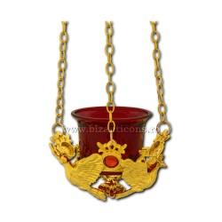 120-54AuR лампа, цепь, золотисто - красный камень - голубь, 60/коробка
