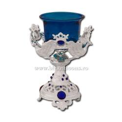 Το 120 91Ag ένα επιτραπέζιο φωτιστικό, αυτό το ασημένιο - πέτρα - μπλε - περιστέρι, 13 cm, 40/box