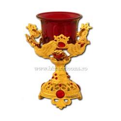 120-91Au светильник таблицы, золотисто - красный камень - голубь 13 см (40/коробка