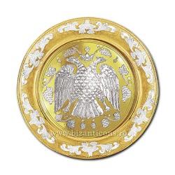 DISC gravat 30cm aurit si argintat vultur - X68-621