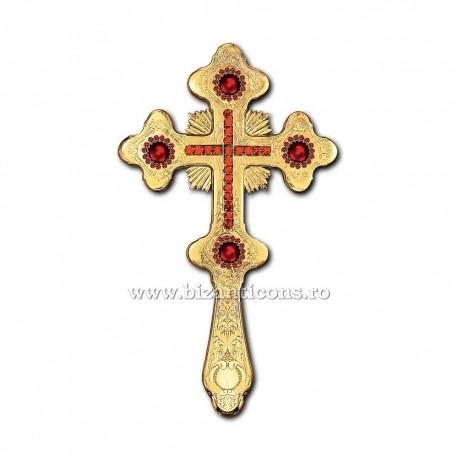 Cruce Binecuvantare Aurita 29 cm + pietre rosii