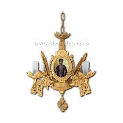 Policandru aliaj aurit Bizantin - cu icoane - 4 becuri - aurit X98-807 / X 87-565