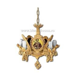 Policandru Bizantin - cu icoane - 5 becuri - aurit