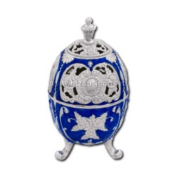 49-21Ag catuie metal - argintie - email albastru 13,5x7,5 48/bax