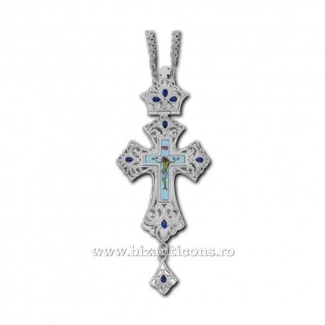 Cruce Stavrofor Bronz argintat - email - pietre albastre