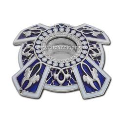 105-20AgAb caseta Sf. Moaste cu filet - argintie - email albastru - 6,5x1,5cm 6/set
