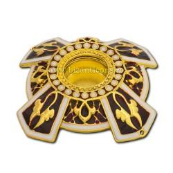 105-20AuR caseta Sf. Moaste cu filet - aurie - email rosu - 6,5x1,5cm 6/set