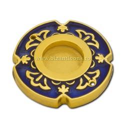 105-21AuAb caseta Sf. Moaste cu filet - aurie - email albastru - 4x0,6cm 6/set