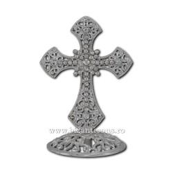 6-120Ag cruce metal argintie + pietre 8cm 120/bax