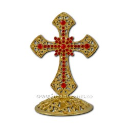 6-120Au cross, metal, gold + red stones to 8cm 120/box