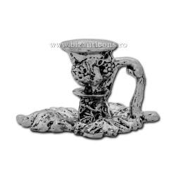 52-151AgP sfesnic mic - frunza 3x5,5cm metal argintiu+patina