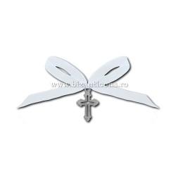 35-8 σταυρός βάπτισης - κορδέλα λευκό 50/τσάντα