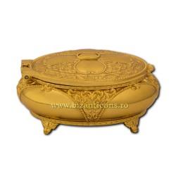 Η 52-200Au-κουτί, μεταλλικό, στρογγυλό, χρυσή 7,5x3,5 96/πακέτο