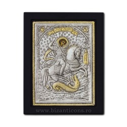 The icon with silvered 19x26 of St. George K104Ag-010