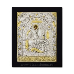 The icon with silvered 23x28 of St. George K105Ag-010