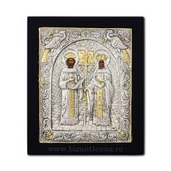 Το εικονίδιο με το ασημωμένο 23x28 st. Αγίου Κωνσταντίνου και Έλενα, K105Ag-011