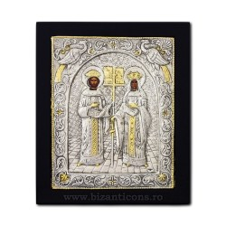 The icon with silvered 23x28 st. St. Konstantin and Elena, K105Ag-011