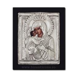 Icoana argintata - Maica Domnului Dulcea Sarutare 23x25 cm K105Ag-411