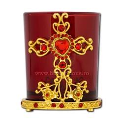 120-22R candela metal 8 cm - au pahar rosu 60/bax