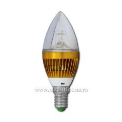 Bec LED E14 3W - lumina galbena