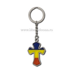 Breloc metal - cruce cu Tricolor 12/set