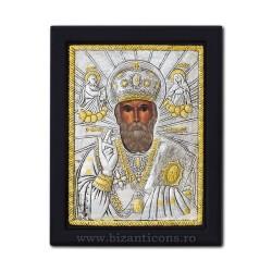 Icoana argintata 19x26 Sf Nicolae Ierarh K104Ag-009