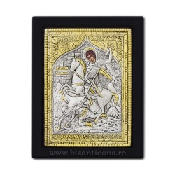 The icon with silvered 19x26 of St. Demetrius K104Ag-014