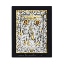 The icon with silvered 19x26 of St. Michael and Gabriel K104Ag-033
