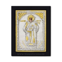 The icon with silvered 19x26 of St. Nectarios K104Ag-114