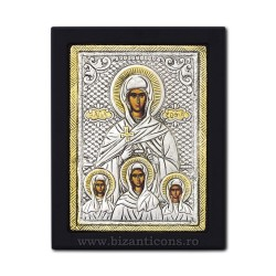 The icon with silvered 19x26 of St. Sophia, and the 3 daughters, Pistis, Elpis, and Agapis K104Ag-124
