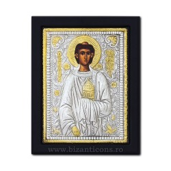 The icon with silvered 19x26 of St. Stephen K104Ag-158