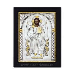 The icon with silvered 19x26 the Messiah on the throne of K104Ag-402